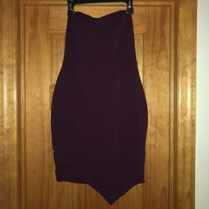 Plum Strapless Mini Dress